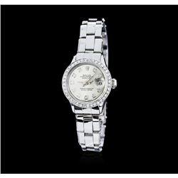 Ladies Rolex DateJust Stainless Steel Diamond Wristwatch