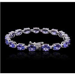 14KT White Gold 16.66 ctw Tanzanite and Diamond Bracelet