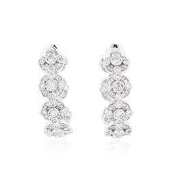 14KT White Gold 4.37 ctw Diamond Hoop Earrings