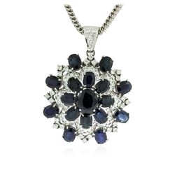 14KT White Gold 30.32 ctw Sapphire & Diamond Pendant with Chain