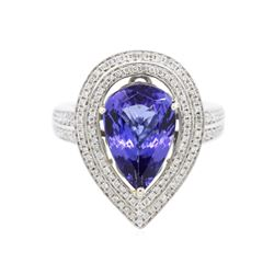 14KT Two-Tone Gold 4.05 ctw Tanzanite and Diamond Ring
