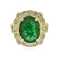 14KT Yellow Gold 3.72 ctw Emerald and Diamond Ring