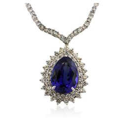 18KT White Gold 33.91 ctw GIA Certified Tanzanite and Diamond Necklace