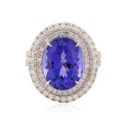 14KT White Gold 8.01 ctw Tanzanite and Diamond Ring