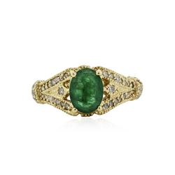14KT Yellow Gold 1.19 ctw Emerald and Diamond Ring