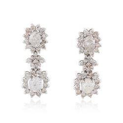 14KT White Gold 4.19 ctw Diamond Earrings