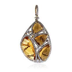 14KT Yellow Gold 13.38 ctw Citrine and Diamond Pendant