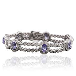 14KT White Gold 5.81 ctw Tanzanite and Diamond Bracelet