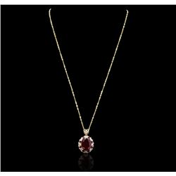 14KT Yellow Gold 1.12 ctw Ruby and Diamond Pendant With Chain