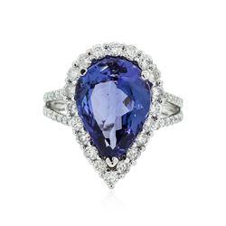 14KT White Gold 5.01 ctw Tanzanite and Diamond Ring