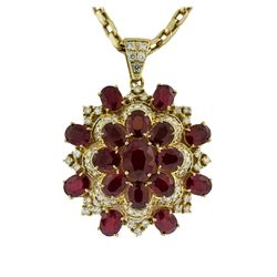 14KT Yellow Gold 34.26 ctw Ruby & Diamond Pendant with Chain