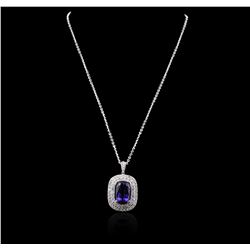 14KT White Gold GIA Certified 16.65 ctw Tanzanite and Diamond Pendant With Chain