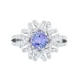 14KT White Gold 1.17 ctw Tanzanite and Diamond Ring