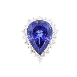 14KT White Gold GIA Certified 20.06 ctw Tanzanite and Diamond Ring