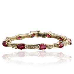 14KT Yellow Gold 9.09 ctw Ruby and Diamond Bracelet