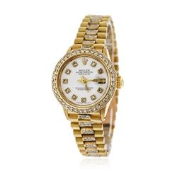 Ladies Rolex 18KT Yellow Gold 1.50 ctw Diamond DateJust Wristwatch