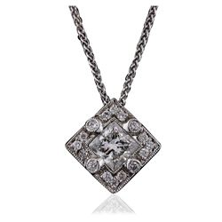 14KT White Gold 0.89 ctw Diamond Pendant With Chain