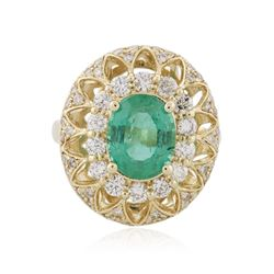 14KT Yellow Gold 2.28 ctw Emerald and Diamond Ring