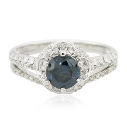 18KT White Gold 1.37 ctw Blue Diamond Wedding Ring Set