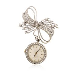 Omega 18KT Gold Diamond Brooch Watch