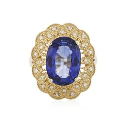 14KT Yellow Gold 7.38 ctw Tanzanite and Diamond Ring