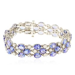 14KT White Gold 31.20 ctw Tanzanite and Diamond Bracelet
