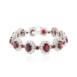 14KT White Gold 20.28 ctw Ruby and Diamond Bracelet