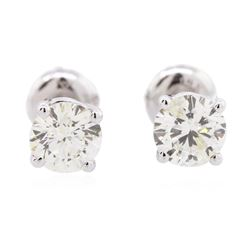 14KT White Gold 1.29 ctw Diamond Solitaire Earrings