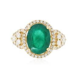 14KT Yellow Gold 3.25 ctw Emerald and Diamond Ring
