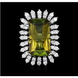 14KT White Gold 13.90 ctw Tourmaline and Diamond Ring