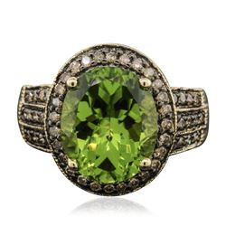 14KT Yellow Gold 5.49 ctw Peridot and Brown Diamond Ring