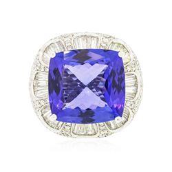 18KT White Gold GIA Certified 19.06 ctw Tanzanite and Diamond Ring