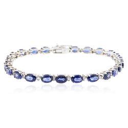 14KT White Gold 12.00 ctw Sapphire and Diamond Bracelet
