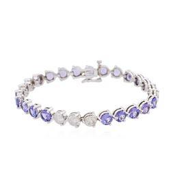 14KT White Gold 9.20 ctw Tanzanite and Diamond Bracelet