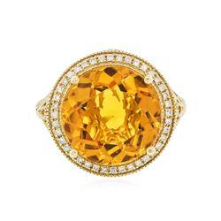 14KT Yellow Gold 7.67 ctw Quartz and Diamond Ring
