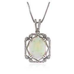 18KT White Gold 8.80 ctw Opal and Diamond Pendant With Chain