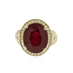 14KT Yellow Gold 13.36 ctw Ruby and Diamond Ring