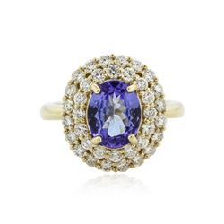 14KT Yellow Gold 1.84 ctw Tanzanite and Diamond Ring