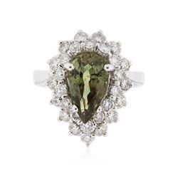 18KT White Gold 3.00 ctw Alexandrite and Diamond Ring