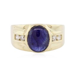 14KT Yellow Gold 4.50 ctw Sapphire and Diamond Ring