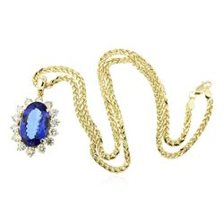 14KT Yellow Gold 15.89 ctw GIA Certified Tanzanite and Diamond Pendant W/ Chain