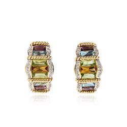 14KT Yellow Gold 2.84 ctw Multi Gemstone and Diamond Earrings