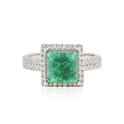 18KT White Gold 3.50 ctw Emerald and Diamond Ring