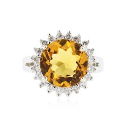 14KT White Gold 4.03 ctw Citrine and Diamond Ring