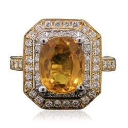 14KT Yellow Gold 5.03 ctw Yellow Sapphire and Diamond Ring