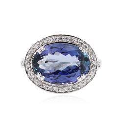 14KT White Gold 5.81 ctw Tanzanite and Diamond Ring