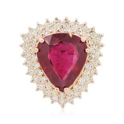 14KT Rose Gold 9.34 ctw Ruby and Diamond Ring