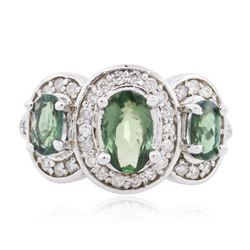 14KT White Gold 1.40 ctw Alexandrite and Diamond Ring