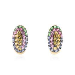 10KT Yellow Gold 3.66 ctw Multi Gemstone Earrings