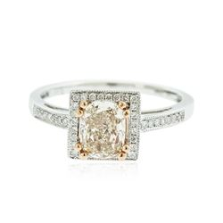 14KT White Gold GIA Certified 1.36 ctw Fancy Brown Diamond Ring